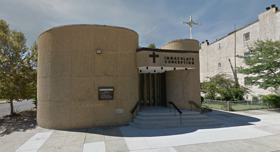 The Church of the Immaculate Conception, Baltimore. This is the third church building constructed. From Google Maps.