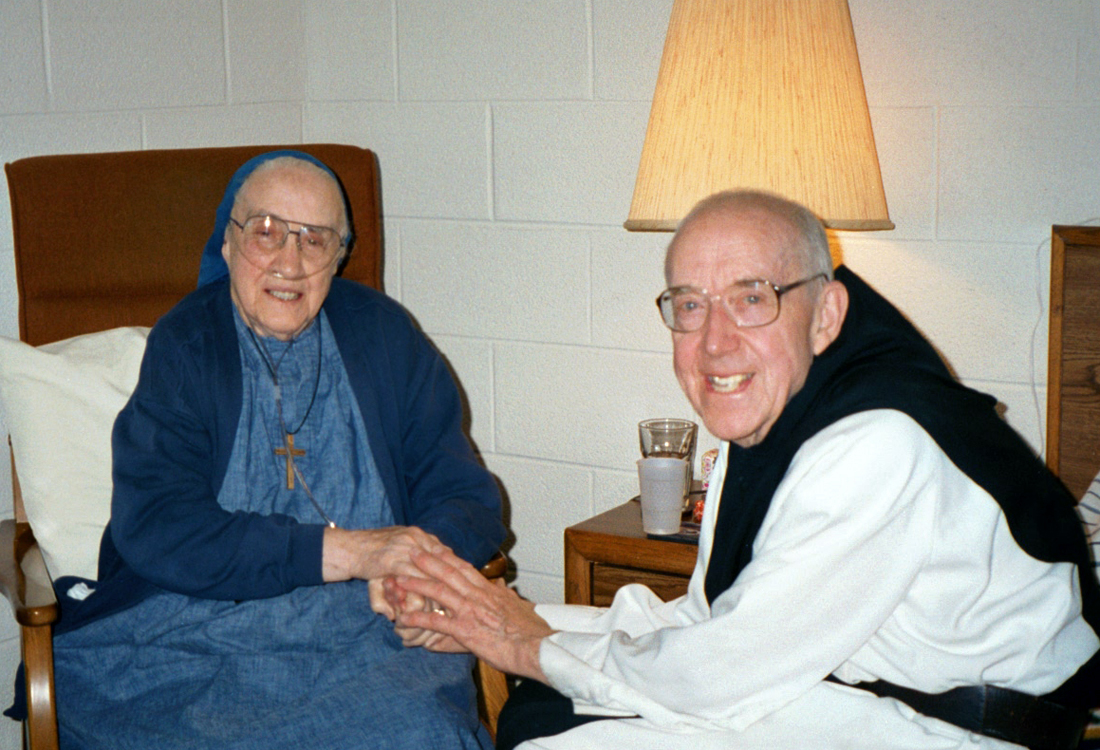 Sr. Mary Elizabeth and Fr. Edward McCorkell, former abbot of the Trappist Monastery where Sister first received her habit. Photo taken in 2002.