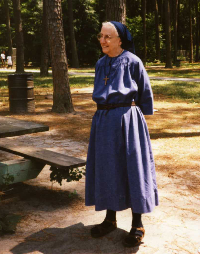Sr. Mary Elizabeth wearing the habit. This nice photo was taken in the Salisbury City Park.